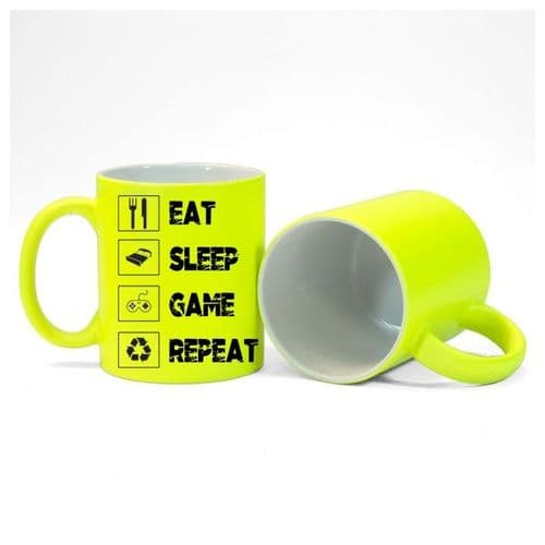 Eat, Sleep, Game, Repeat, Gamer Mug, Size 11oz, Fluorescent Neon Yellow