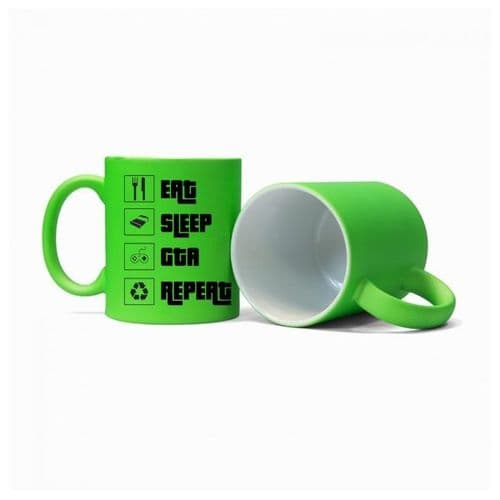 Eat, Sleep, GTA, Repeat, Gamer Mug, Size 11oz, Fluorescent Neon Green