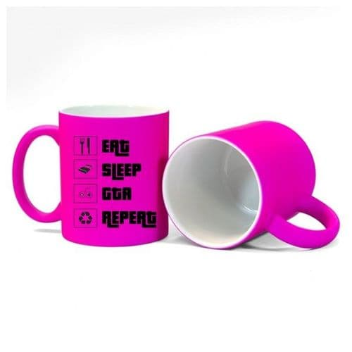 Eat, Sleep, GTA, Repeat, Gamer Mug, Size 11oz, Fluorescent Neon Pink