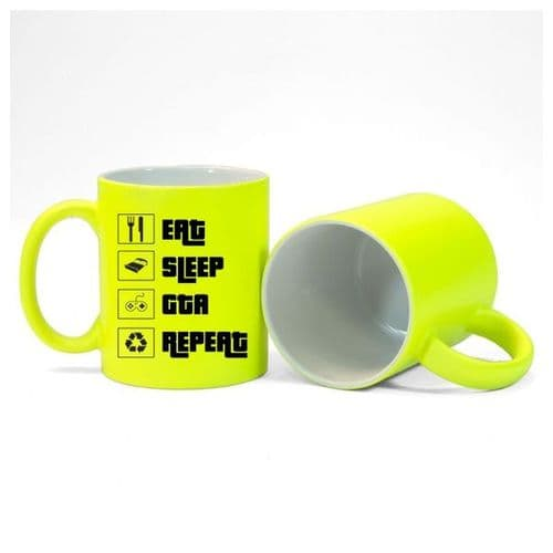 Eat, Sleep, GTA, Repeat, Gamer Mug, Size 11oz, Fluorescent Neon Yellow