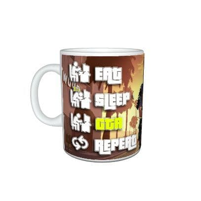 Eat, Sleep, GTA, Repeat, Grand Theft Auto Gamer 11oz Mug
