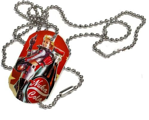 Fallout Nuka Cola Girl, 1 x ID Dog Tag With Bead Necklace, ONE SIDE ONLY