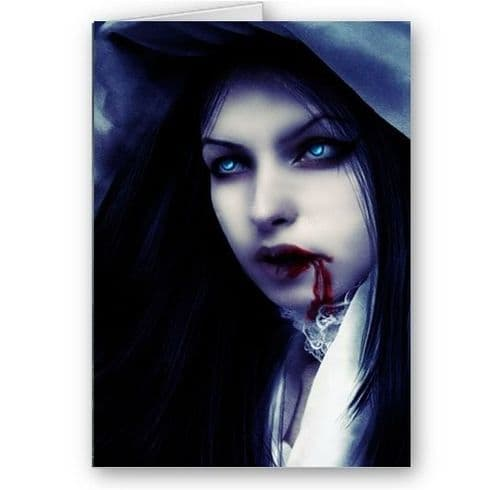 Female Vampire, Fantasy, Scary A5 All Occasions, Happy Birthday, Christmas Card