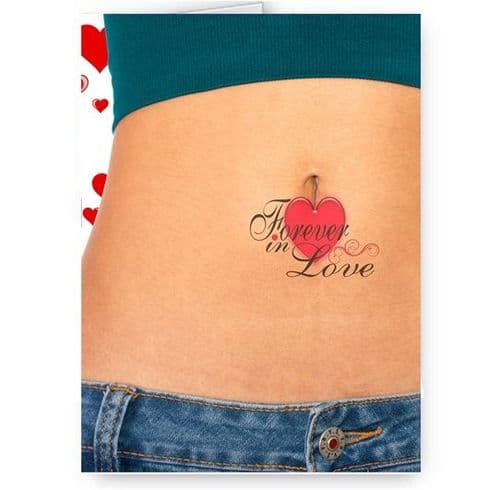 Forever In Love, Tummy, Belly, Tattoo Theme A5 Birthday Card