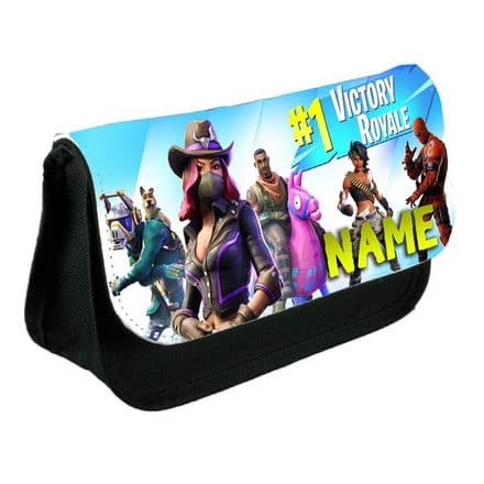Fortnite, Black Pencil Case Or Make-Up Bag Gift, Personalised With Name