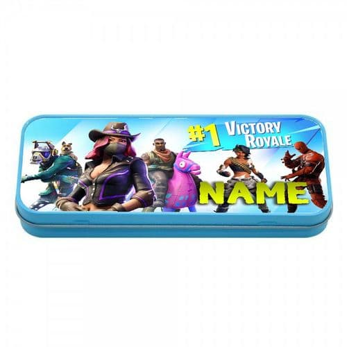 Fortnite, Personalised Name Blue Metal Tin Pencil Case, 190mm X 80mm X 35mm