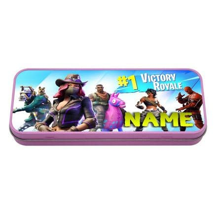 Fortnite, Personalised Name Pink Metal Tin Pencil Case, 190mm X 80mm X 35mm
