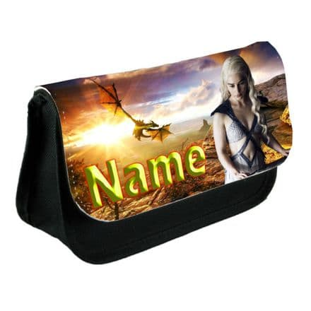 Game Of Thrones Personalised Name Added Pencil Case Or Make-Up Bag Black