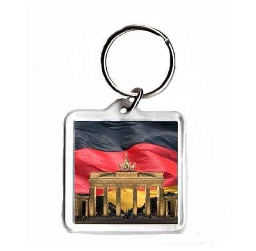 Germany Flag with Brandenburg Gate, Square Keyring Novelty Souvenir Gift