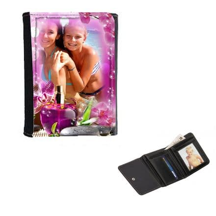 Girls Personalised Photo Make-up, Perfume Theme Wallet or Purse 12cm x 9cm