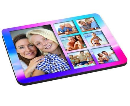 Girly Pink 7 Photo Collage Mouse Mat, Pad 220mm x 180mm, 5mm Thick
