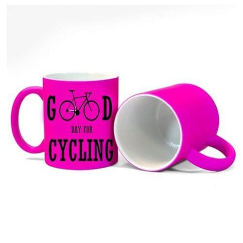 Good Day For Cycling Fluorescent Neon Pink Mug Gift