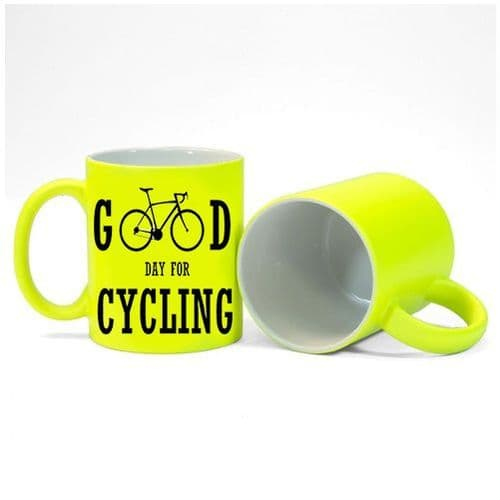 Good Day For Cycling Fluorescent Neon Yellow Mug Gift