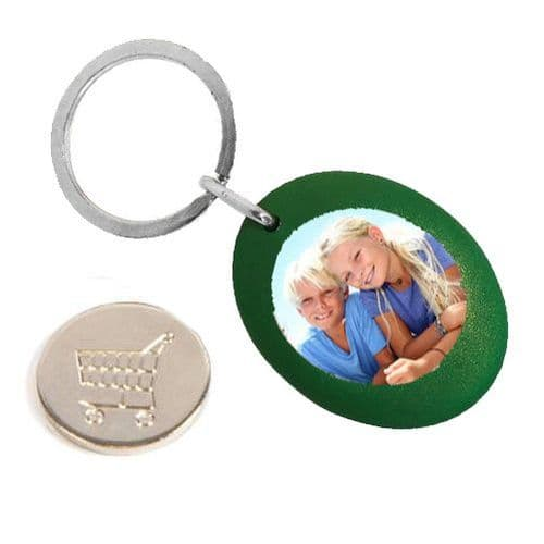 Green Plastic Personalised Keyring, Shopping Trolley Pound Coin - 25mm