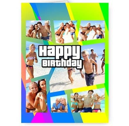 GTA Grand Theft Auto Style Theme, Personalised With Photos A5 Happy Birthday Card