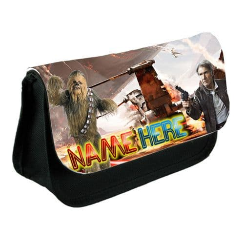 Hans Solo and Chewbacca Personalised Name Pencil Case Or Make-Up Bag Black
