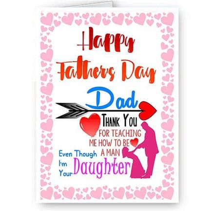 Happy Father's Day Dad, Thank You Daughter A5 Card