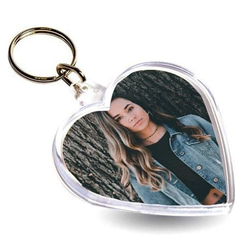Heart Personalised Photo Added, Acrylic Keyring, Valentines, Mothers Day Gift