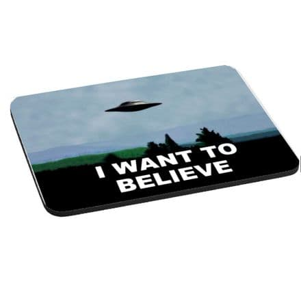 I Want To Belive, X Files Theme Mouse Mat, Pad 220mm x 180mm, 5mm Thick