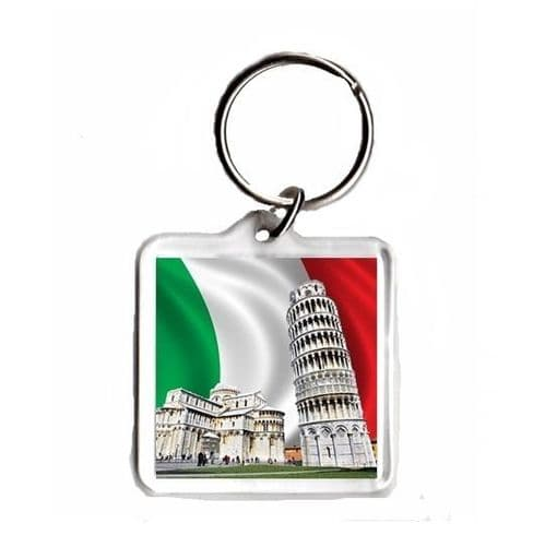 Italy Flag with Leaning tower of Pisa, Square Keyring Novelty Souvenir Gift