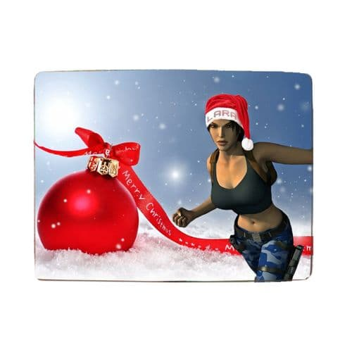 "Lara Croft Merry Christmas 8"" x 11"" Toughened Glass Chopping Board, 4mm Thick"