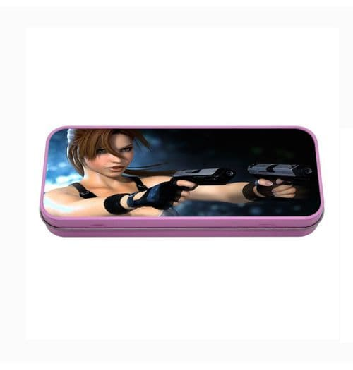 Lara Croft Pink Metal Tin Pencil Case, 190mm X 80mm X 35mm