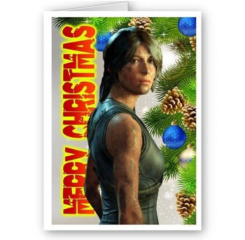 Lara Croft, Shadow Of The Tomb Raider, A5 Merry Christmas Card With Envelope