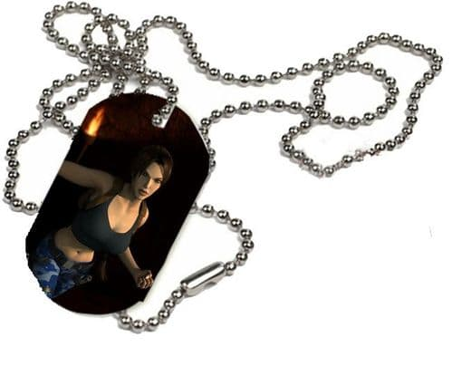 Lara Croft, Tomb Raider, 1 x ID Dog Tag With Bead Necklace