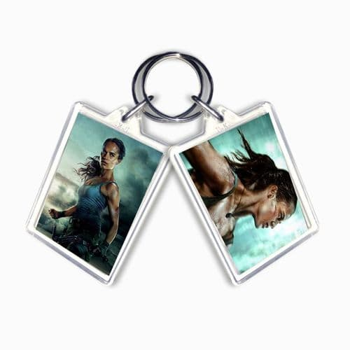 Lara Croft Tomb Raider 2018 Large Keyring Gift Pic Size 35mm X 50mm