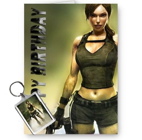 Lara Croft Tomb Raider A5 Happy Birthday Card With Free Keyring