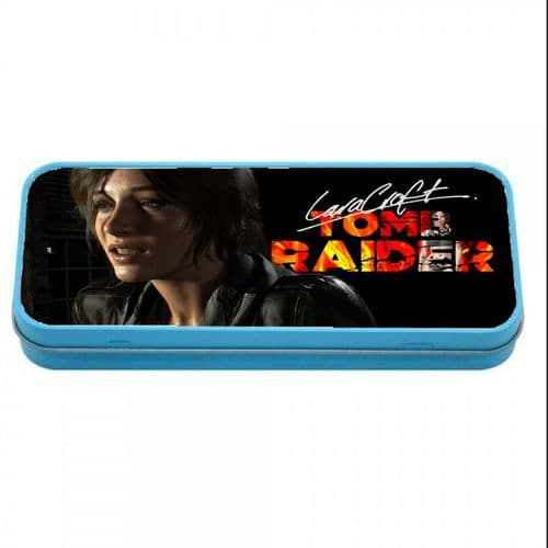 Lara Croft, Tomb Raider, Blue Metal Tin Pencil Case, 190mm X 80mm X 35mm