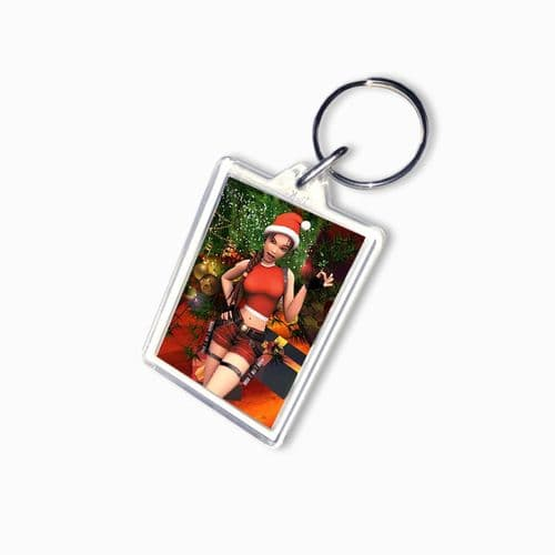 Lara Croft, Tomb Raider, Christmas Theme Large Keyring, Pic Size 35mm X 50mm