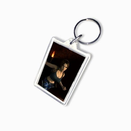 Lara Croft, Tomb Raider Large Keyring, Pic Size 35mm X 50mm