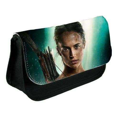 Lara Croft, Tomb Raider Movie 2018, Pencil Case Or Make-Up Bag Black