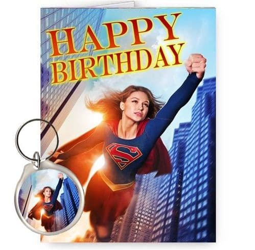 Melissa Benoist, Supergirl A5 Happy Birthday Card With FREE Round Keyring