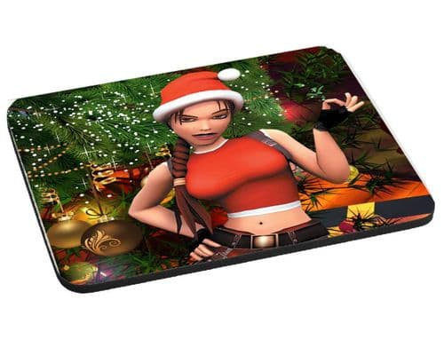 Merry Christmas Lara Croft Tomb Raider Gift Mouse Mat, Pad 220mm x 180mm, 5mm Thick