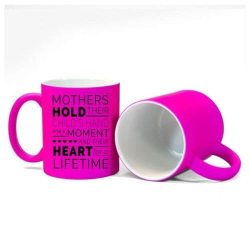 Mothers, Child Heart Love Forever, Size 11oz, Fluorescent Pink Mug Gift