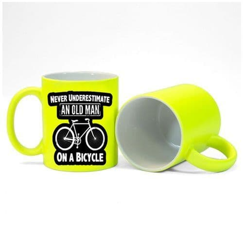 Never Underestimate An Old Man On A Bicycle Fluorescent Neon Yellow Mug Gift
