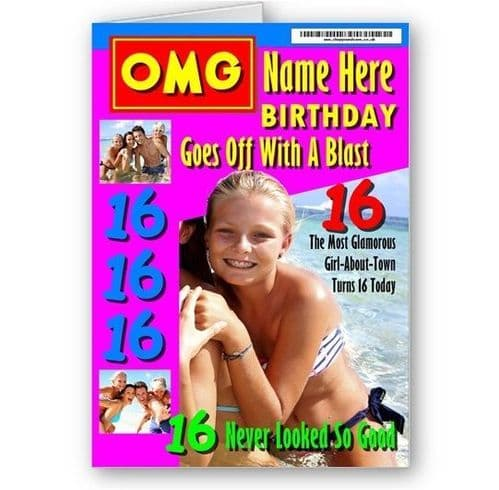 OMG Magazine Cover Name, Age & Photo A5 Girls Special Birthday Card