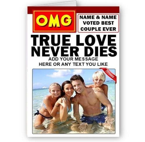 OMG Magazine Spoof Names & Photo A5 Special Valentines True Love Card