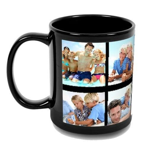 Personalised 10 Photos Added Full Black Colour 11oz Mug New & Sealed