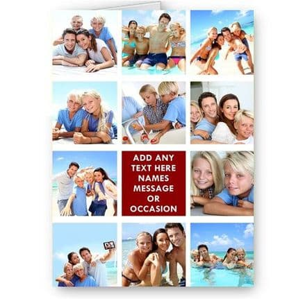Personalised 11 Photos & Message Collage All Occasion A5 Card, Birthday & More