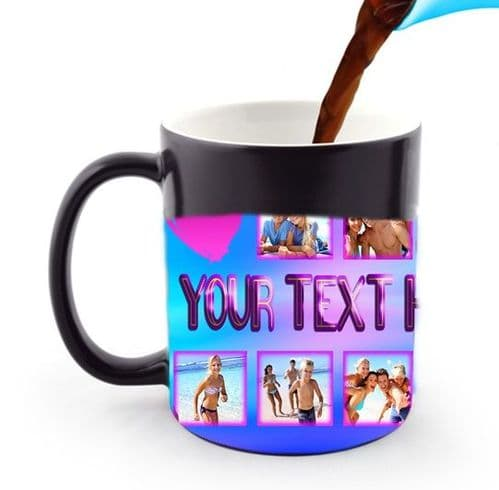 Personalised 12 Photo and Text Girly Heart Pink 11oz Heat and Reveal Magic Large Handle Mug