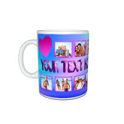 Personalised 12 Photo and Text Girly Heart Pink 11oz Large Handle Mug