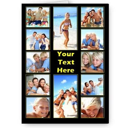 Personalised 12 Photos & Message Collage All Occasion A5 Card, Birthday & More