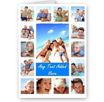 Personalised 15 Photos Collage Effect & Message White, Blue All Occasion A5 Card