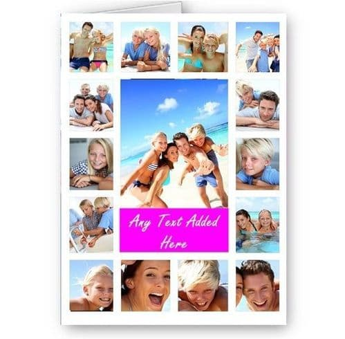 Personalised 15 Photos Collage Effect & Message White, Pink All Occasion A5 Card