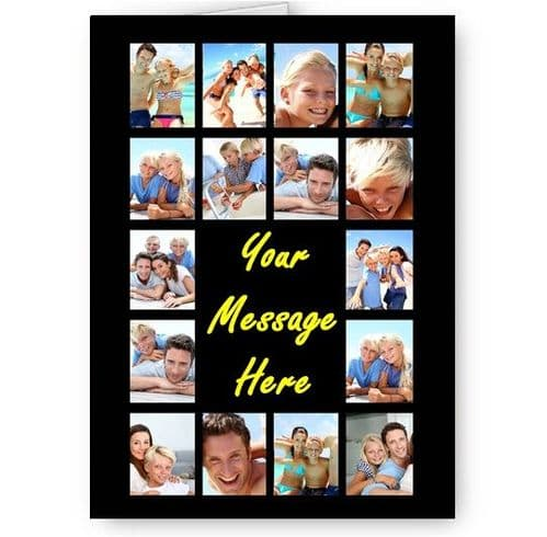 Personalised 16 Photos Collage Effect & Message All Occasion A5 Card