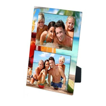 Personalised 2 Photos Beach Holiday MDF Photo Panel 5'' x 7'' with Easel