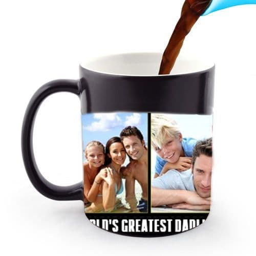 Personalised 3 Photo and Text Collage 11oz Heat and Reveal Magic Large Handle Mug